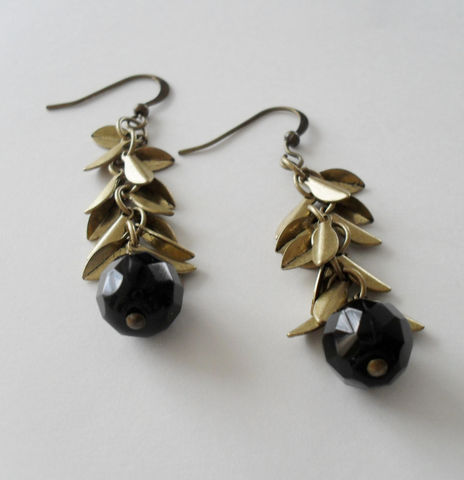 Faceted,French,Jet,Black,&,Antique,Gold,Leaf,Charms,Beaded,Drop,Earrings,/,Fall,Autumn,jewelry,Gift,Boxed,Jewelry,Hand_Made,Leaves,Antiqued_Gold,French_Jet,Unique_Gift,Canteam,leaf_earrings,french_jet_earrings,fall_earrings,autumn_jewelry