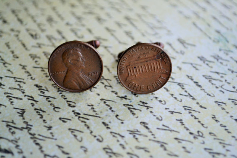 AMERICAN PENNY Cufflinks / Copper cuff links /  7th anniversary gift for him / Groomsmen Gift / PersonalizedGift / Any year / Gift boxed - product image