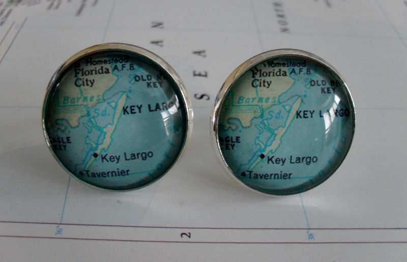 Key Largo Florida Map Silver Cuff Links / Father's Day / groomsmen gift / gift for him / Map cufflinks / Map jewelry / Gift boxed - product image