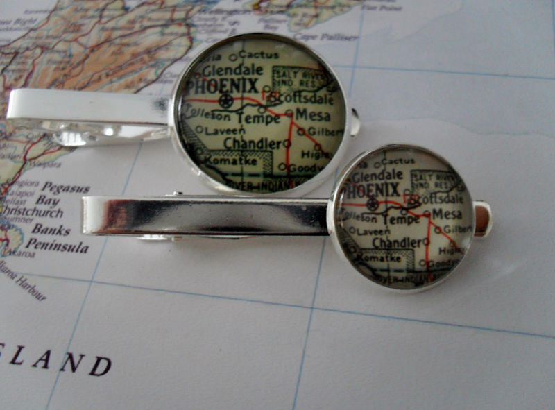 PHOENIX ARIZONA MAP Tie Bar / Groomsmen Gift / Gift for Him / Custom map tie bar / 2 Sizes / Tie Clip / Tie Clasp / Tie Slide / Map Jewelry - product image