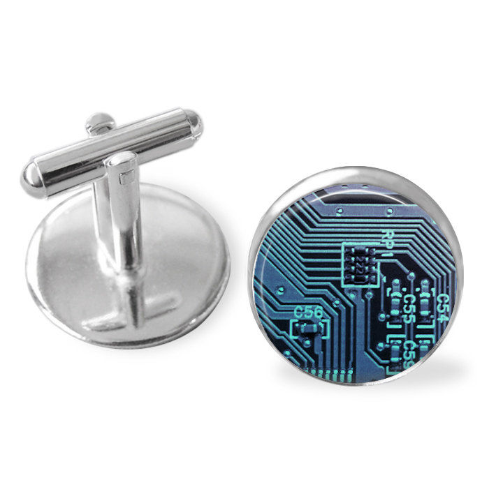 CIRCUIT BOARD Cufflinks / Computer Cuff Links  / Motherboard / Gift For Gamer / Computer related gift / Geek gift / 3 colours / Gift boxed - product image