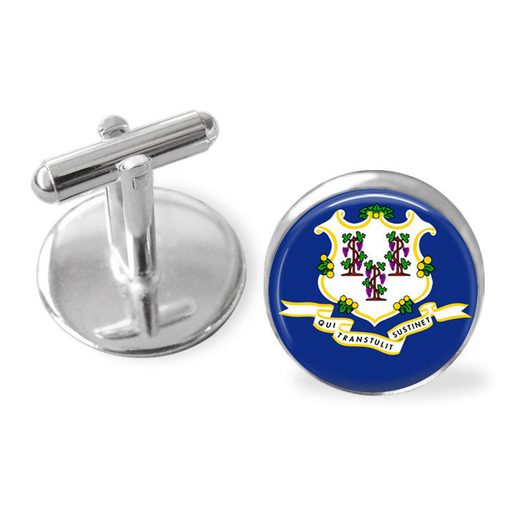 CONNECTICUT STATE Flag Cufflinks / Connecticut cuff links /  Constitution State / state flag jewelry / Groomsmen Gift / Personalized Gift - product image
