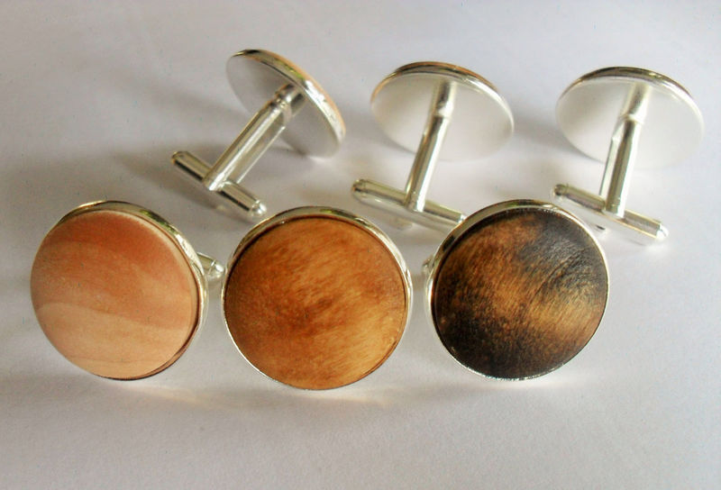 WOODEN CUFFLINKS / silver/ Rustic Wedding / Country Wedding / Groomsmen Gift / Carpenter Gift / Choice of Color / Mens Real Wood Cuff Links - product image