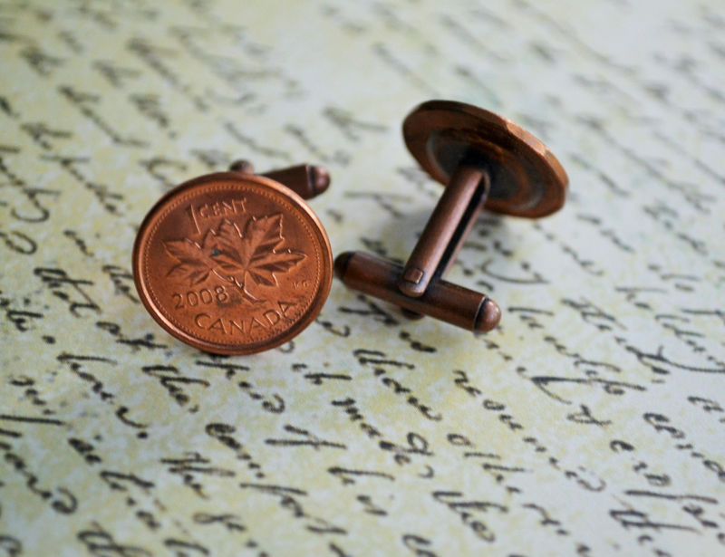 CANADIAN PENNY Cufflinks / you pink the year / Copper cufflinks /  Custom /  7th Anniversary gift / Groomsmen Gift / Personalized Gift - product image