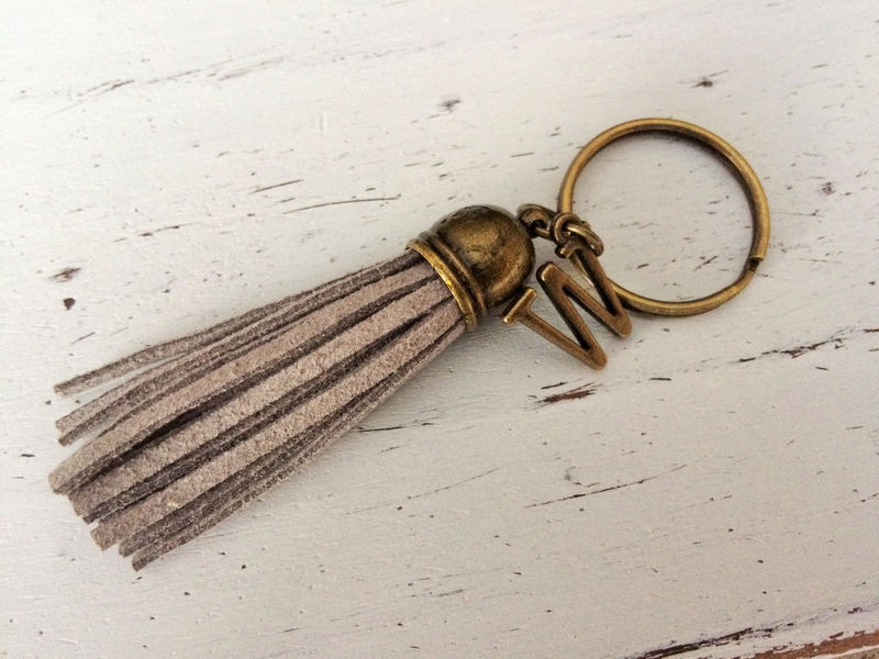 SUEDE TASSEL KEYCHAIN / Personalized Initial keychain / Suede Fringe Keyring / Gift Under 10 dollars / Stocking Stuffer / Letter and Tassel - product image