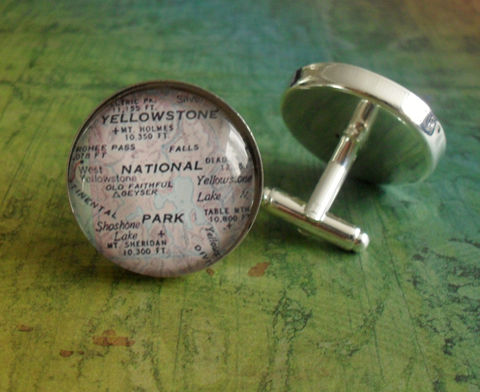 Yellowstone,National,Park,Map,Silver,Cuff,Links//,Father's,Day//,Groomsmen,Gift,//,Anniversary,gift,for,him,Accessories,Cuff_Links,Hand_Made,Cufflinks,Vintage_Map,Fathers_Day_Gift,Groomsmen_Gift,Yellowstone_Park,Wedding,Bjeweled_Vintage,National_Park,Map_Cufflinks,Unique_Gift