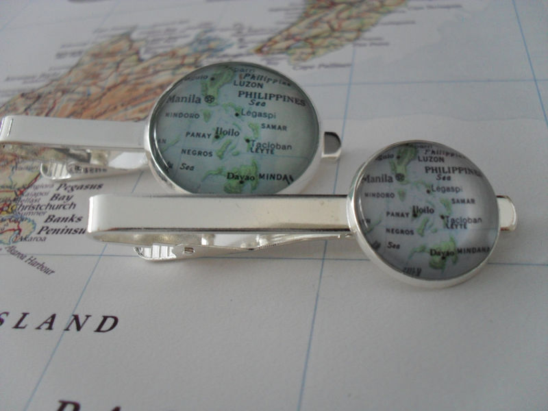 PHILIPPINES MAP Tie Bar / Silver / Groomsmen Gift / Gift for Him / Map Jewelry / 2 Sizes / Tie Clip / Tie Clasp / Tie Slide / Gift Boxed - product image