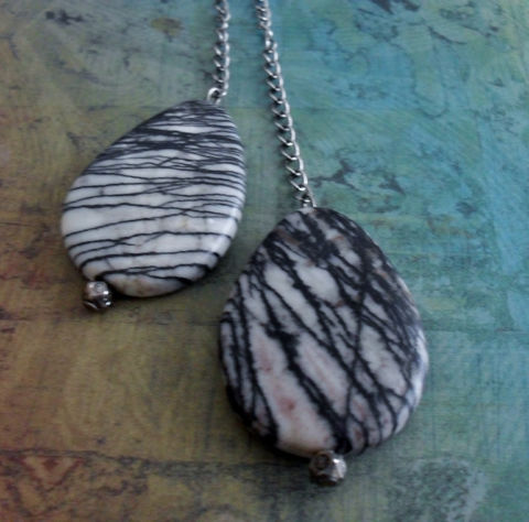 ZEBRA,JASPER,Lariat,/,Tie,NECKLACE,//,Simple,Minimalist,Unique,Gift,for,Her,Boxed,Jewelry,Necklace,Canadian,Designer,One_Of_A_Kind,Hand_Made,Tie_Necklace,Gemstone,Zebra_Jasper,Picasso_Jasper,Striped,Zebra_Stripes,Unique_Gift,Canteam,natural_stone