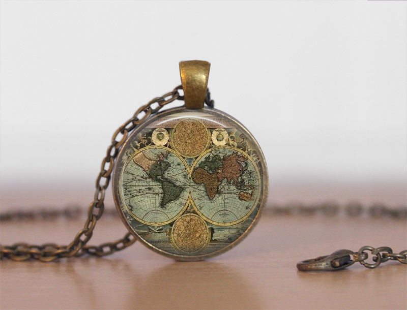 WORLD GLOBE NECKLACE / Antique Map Pendant / Unique Gift for Her / Map Jewelry / Globe / Vintage Map  / brass pendant / gift box - product images