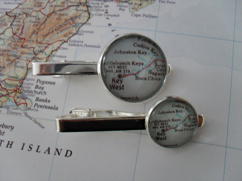 KEY WEST MAP Silver Tie Bar / Florida Keys / Groomsmen Gift / Unique Gift for Him / Custom Map Tie Bar / Tie Clip / Tie Clasp / Tie Slide - product image