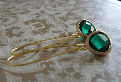 EMERALD,GREEN,Glass,Drop,EARRINGS,/,Faceted,Gold,Framed,Dangle,Bridesmaid,Earrings,Simple,Gift,For,Her,Box,Jewelry,Wedding,Faceted_Glass,Framed_Glass,Bridesmaid_Jewelry,Birthstone,Emerald_Green,Unique_Gift,Canteam,green_earrings,bridesmaid_earrings