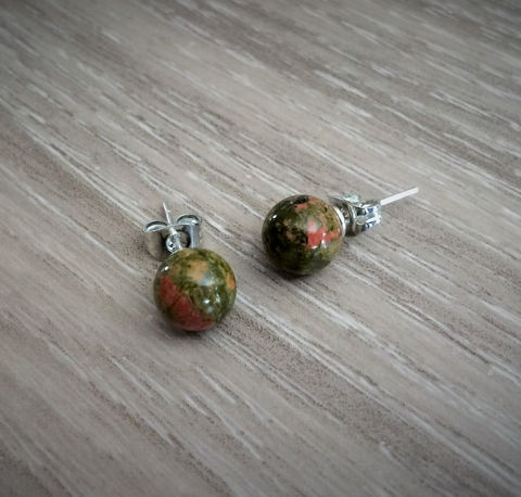 UNAKITE,Simple,Stud,Earrings,/,Natural,Stone,Post,Ball,Stocking,stuffer,under,5,dollars,Gift,Boxed,Jewelry,earrings,stone_studs,ball_earrings,surgical_steel,under_5_dollars,gift_for_her,gemstone_earrings,semi_precious,made_in_Canada,stone_earrings,Unakite_earrings,Unakite,stocking_stuffer
