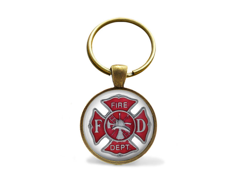 FIREFIGHTER EMBLEM KEYCHAIN / Firefighter Gift  / Maltese Cross Key Chain / Fire fighter Symbol / Fire Department logo / Gift Boxed - product images