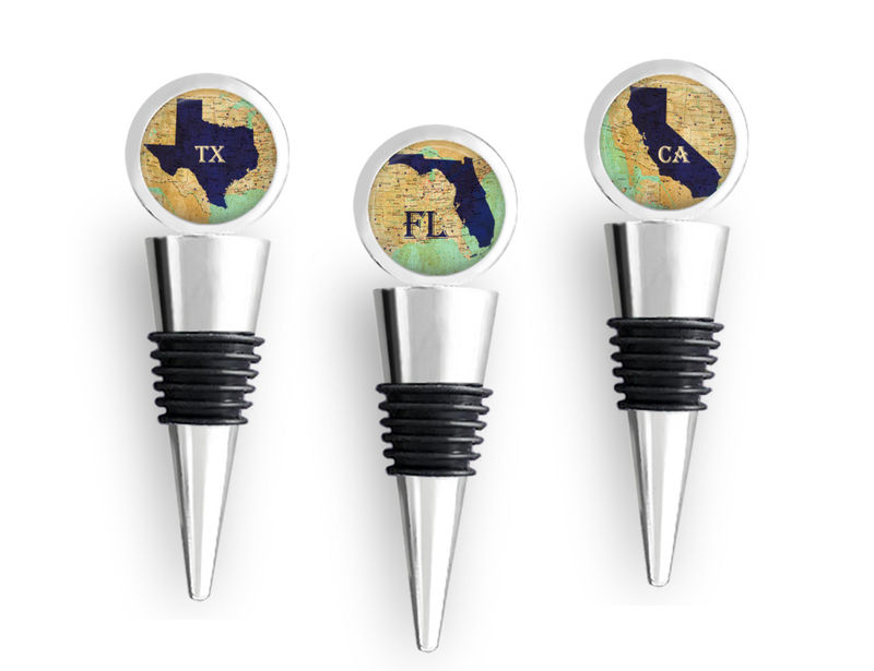 STATE MAP Wine STOPPER / Any State /  Wedding Favor Favour / Bridesmaid Groomsmen Gifts / Housewarming gift / Wine Lover Gift / Bottle Stop - product images