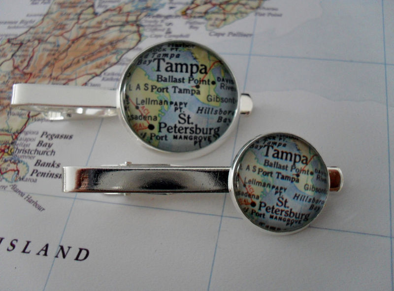 TAMPA  MAP Silver Tie Bar / Tampa Bay tiebar / Groomsmen Gift / Gift for Him / Tie Clip / Tie Clasp / Tie Slide / Custom Map Tiebar - product image