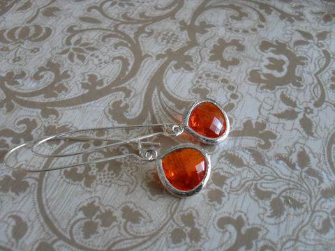 AMBER,ORANGE,EARRINGS,//,Faceted,Glass,Silver,Dangle,Earrings,/,/Bridesmaid,Bridal,Simple,Jewelry,Prom,Wedding,Nickel_Free,Faceted_Glass,White_Gold,Amber,Drop_Earrings,Orange_Earrings,Bridesmaid_Earrings,Simple_Earrings,Unique_Gift,Canteam