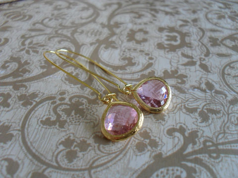 LIGHT,PINK,Glass,Drop,EARRINGS,//,Pale,Pink,Faceted,Gold,Framed,Dangle,Bridesmaid,Jewelry,Bridal,Simple,Earrings,Wedding,Nickel_Free,Faceted_Glass,Framed_Glass,Bridesmaid_Jewelry,Bridesmaid_Earrings,Light_Pink_Earrings,Glass_Drop_Earrings,Pink_Glass_Earrings,Pale_Pink_Earrings