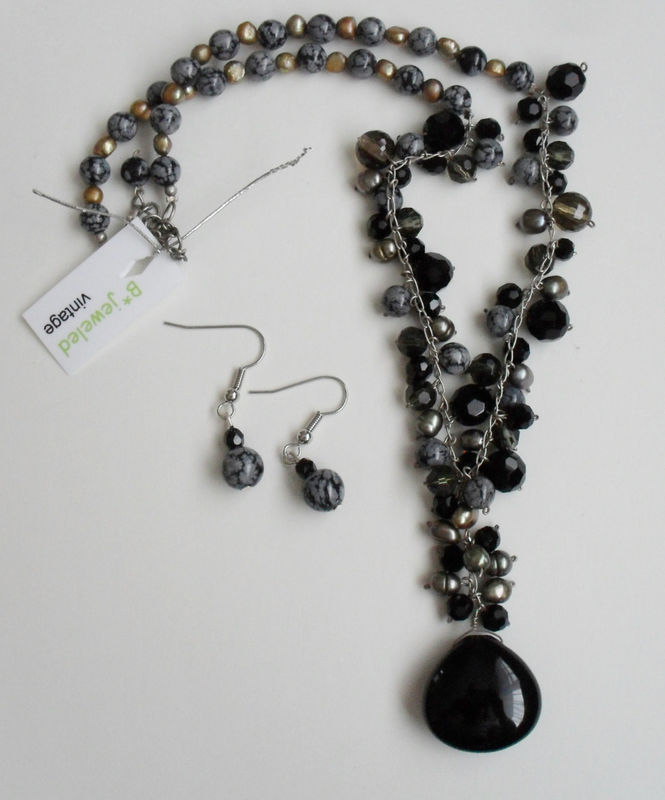 Snowflake Obsidian, French Jet, Black Agate, Smoky Quartz & Freshwater Pearl Necklace and Earrings Set / Sterling Silver / Natural Stone - product image