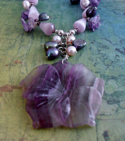 Shades,of,PURPLE,Beaded,GEMSTONE,&,Pearl,NECKLACE,/,Amethyst,Lavender,Natural,Stone,Necklace,Unique,Gift,for,Her,Boxed,Jewelry,Canadian,Hand_Made,Freshwater_Pearl,Pendant,Fluorite,Purple,Cats_Eye,Unique_Gift,Canteam,beaded_necklace,natural_stone
