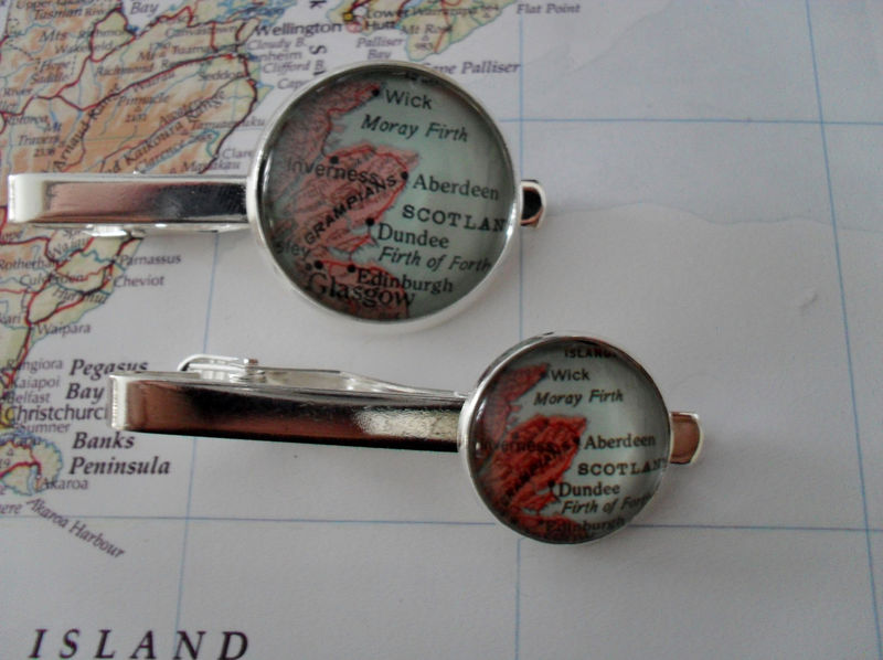 ABERDEEN MAP  Tie Bar / Scotland Tie Clip / Groomsmen Gift / Gift for Him / custom map tie bar  / Tie Clip / Tie Clasp / Tie Slide /gift box - product image