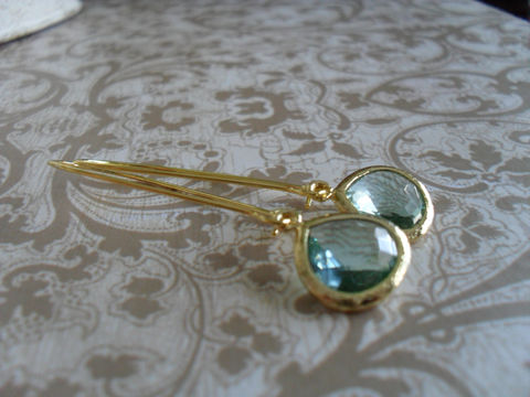Pale,SEA,GREEN,Glass,Drop,EARRINGS,//,Faceted,Gold,Framed,Dangle,Bridesmaid,Bridal,Simple,Jewelry,Earrings,Wedding,Nickel_Free,Faceted_Glass,Framed_Glass,Bridesmaid_Jewelry,Sea_Green,Greenish_Blue,Crystal_Earrings,Classic_Earrings,Glass_Drop_Earrings,Drop_Earrings