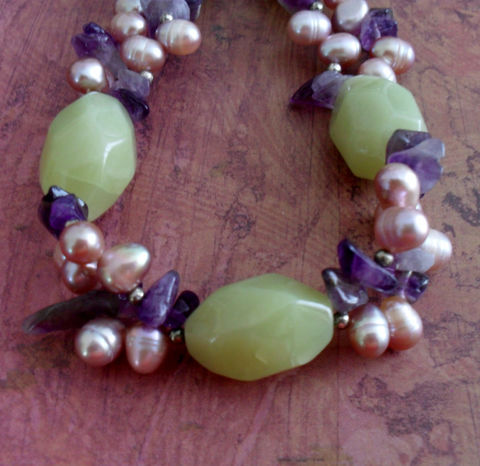 PURPLE,Amethyst,,LIME,Malaysian,Jade,&,Freshwater,Pearl,Beaded,NECKLACE,//,Intricate,Bead,Work,Spring,Summer,Pastels,Unique,Gift,Jewelry,Necklace,Canadian,Designer,One_Of_A_Kind,Hand_Made,Freshwater_Pearl,Purple,Amethyst,Lime,Malaysian__Jade,Sterling_Silver,Unique_Gift,Canteam,beaded_necklace