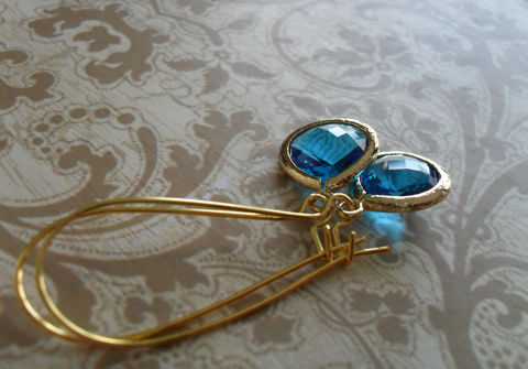 CAPRI,BLUE,Glass,Drop,EARRINGS,/,Teal,Blue,Faceted,Gold,Framed,Dangle,Bridesmaid,Earrings,Bridal,Simple,Gift,box,Jewelry,Nickel_Free,Faceted_Glass,Framed_Glass,Bridesmaid_Jewelry,Capri_Blue,Bridesmaid_Earrings,Teal_Blue_Earrings,Bridal_Jewellery,Gift_Boxed,Wedding