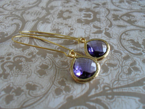 TANZANITE,PURPLE,Glass,Drop,EARRINGS,/,Faceted,Gold,Framed,Dangle,Bridesmaid,Earrings,Simple,Purple,Jewelry,Wedding,Faceted_Glass,Framed_Glass,Bridesmaid_Jewelry,Tanzanite,Bridesmaid_Earrings,Purple_Earrings,Tanzanite_Earrings,Unique_Gift