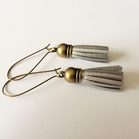 SILVER,SUEDE,TASSEL,Earrings,/,Silver,Gray,Leather,Suede,Fringe,Tassel,Jewelry,Gift,for,Her,under,5,dollars,Boxed,under_5_dollars,gift_for_her,made_in_Canada,tassel_earrings,suede_tassels,tassel_jewelry,trendy_earrings,leather_tassels,antique_bronze,silver_tassel,silver_leather,silver_suede