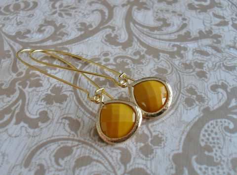 MUSTARD,YELLOW,Glass,Drop,EARRINGS,//,Faceted,Gold,Framed,Dangle,Bridesmaid,Bridal,Simple,gift,Boxed,Jewelry,Earrings,Wedding,Nickel_Free,Faceted_Glass,White_Gold,Mustard_Yellow,Framed_Glass,Mustard,Unique_Gift