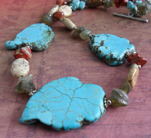 Turquoise,Jasper,and,Labradorite,BEADED,GEMSTONE,NECKLACE,/,Semi,Precious,Natural,Stone,Necklace,Unique,Gift,For,Her,Beaded,Jewelry,Canadian,Designer,One_Of_A_Kind,Hand_Made,Silver,Gemstone,Red_Jasper,Canteam,unique_gift_for_her,stone_necklace