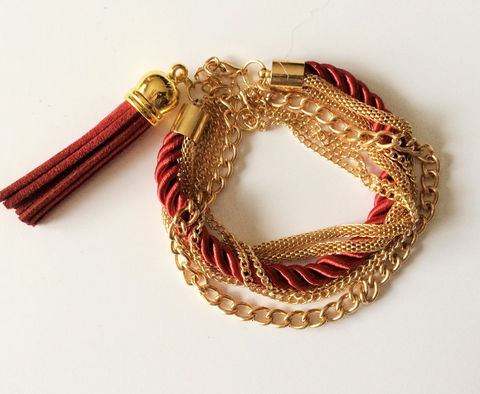 Burgundy,Suede,TASSEL,CHAIN,&,ROPE,Bracelet,,,Gold,Multichain,Tassel,bracelet,Merlot,deep,red,Silk,Rope,Gift,Boxed,Jewelry,Canadian,Bjeweled_Vintage,Hand_Made,Unique_Gift,Canteam,tassel_bracelet,silk_rope_bracelet,multichain_bracelet,gold_chain_bracelet,merlot_burgundy,suede_tassel_jewelry,rope_and_tassel,deep_red