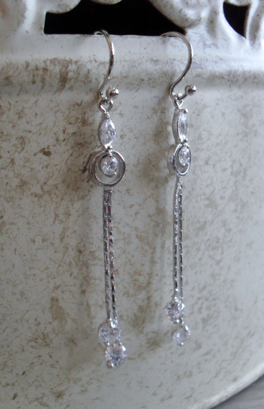 Delicate Bridal Earrings // STUNNING Cubic Zirconia LONG Silver Dangle EARRINGS //  Wedding // Prom // Gift for Her // Gift boxed - product image