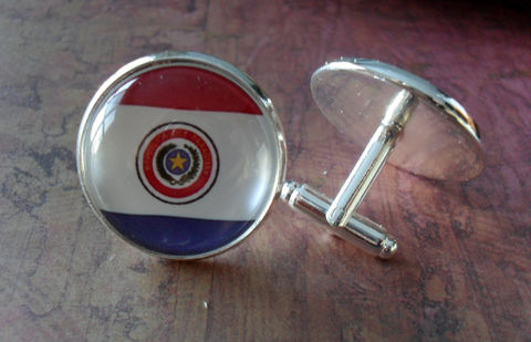 PARAGUAYAN,FLAG,Silver,Cufflinks,//,National,Flag,of,PARAGUAY,/,Father's,Day,Groomsmen,Gift,Wedding,//Patriotic,Cuff,Links,Boxed,Accessories,Cuff_Links,Groomsmen_Gift,Patriotic,National_Flag,Country,Paraguayan_Flag,Paraguay,Map_Cufflinks,Flag_Cufflinks,Country_Cufflinks,Cool_Cufflinks,Unique_Gift,cuff_links
