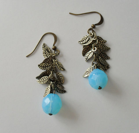 Opalescent,AQUA,Glass,&,Antique,Gold,Leaf,Charms,Beaded,DROP,EARRINGS,/,Earrings,Gift,for,Her,Leaves,boxed,Jewelry,One_Of_A_Kind,Hand_Made,Mothers_Day,Antiqued_Gold,Aquamarine,Leaf_Earrings,Aqua_Earrings,Leaf_Dangle_Earrings,Unique_Gift