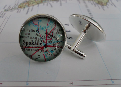 SPOKANE,Washington,Map,Silver,CUFF,LINKS,/,Cufflinks,Jewelry,Father's,Day,personalized,groomsmen,gift,for,him,Weddings,Canadian,Hand_Made,Vintage_Map,Fathers_Day_Gift,Groomsmen_Gift,Spokane,Map_Cufflinks,Unique_Gift,map_cuff_links,cool_cufflinks