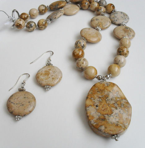 Picture,Jasper,Beaded,NECKLACE,&,EARRINGS,SET,/,Sterling,Silver,Natural,stone,Gift,for,Her,Browns,boxed,Jewelry,Canadian,Designer,One_Of_A_Kind,Hand_Made,Sterling_Silver,Natural_Stone,Picture_Jasper,Sand,Gift_For_Her,Natural_Stone_Set,Necklace__Earrings,Unique_Gift