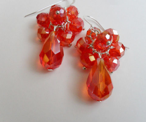 ORANGE,CRYSTAL,EARRINGS,/,Sterling,Silver,Tangerine,Orange,Cascading,Earrings,Glamorous,Gift,Boxed,Jewelry,Canadian,One_Of_A_Kind,Hand_Made,Prom,Crystal,Sterling_Silver,Crystal_Earrings,Orange_Earrings,Orange_Crystal,earrings