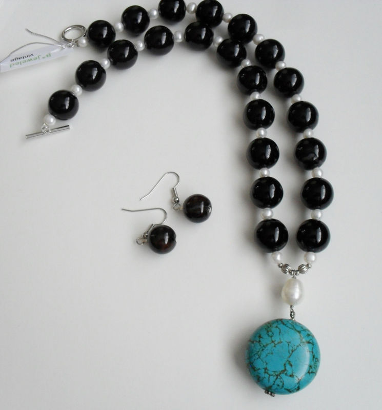 HAND BEADED SET / Black Agate, Freshwater Pearl & Turquoise / Stone / Pendant Necklace and Earrings Set / Sterling Silver / Gift Boxed - product image