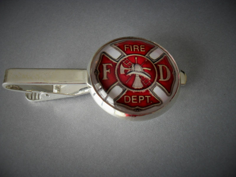FIREFIGHTER EMBLEM  Tie Bar/ Maltese Cross / Gift for Him / Fireman Gift / 2 Sizes / Tie Clip / Tie Clasp / Tie Slide  / Firefighter gift - product image
