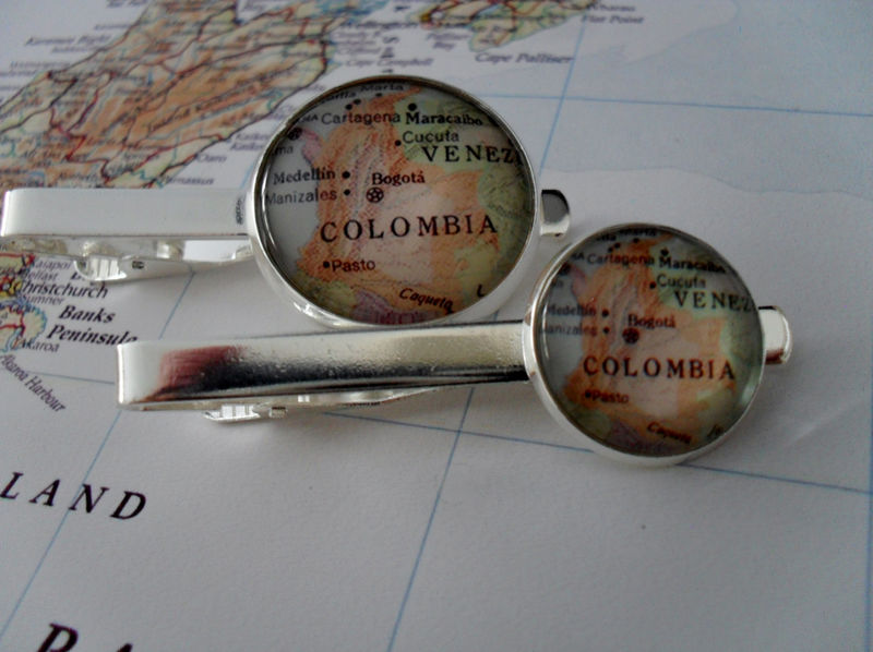 Custom MAP TIE BAR / Groomsmen Gift / Personalized Gift for Him  / You Pick the Location / 2 Sizes / Map Tie Clip / Tie Clasp / Tie Slide - product image
