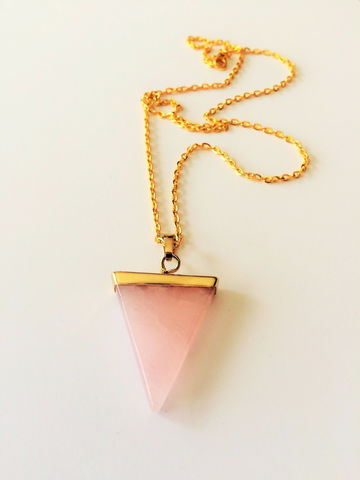 Rose,Quartz,Triangle,Necklace,/,Gold,Dipped,Pendant,Geometric,Pink,Gift,Boxed,Jewelry,gift_for_her,semi_precious,made_in_Canada,rose_quartz_earrings,pink_quartz,gold_dipped_quartz,rose_quartz_necklace,rose_quartz_pendant,rose_quartz_triangle,pink_quartz_necklace,natural_stone,gold_pink_quartz,gold_quartz_necklace