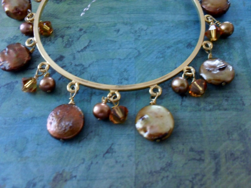 Bronze Freshwater Coin Pearl & Amber Swarovski Crystal BEADED Gold BANGLE BRACELET / Pretty Bracelet / Gift boxed - product image
