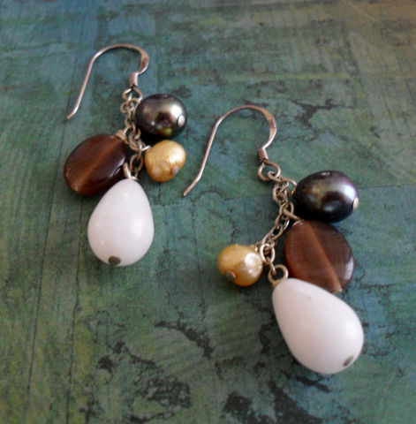 BEADED,EARRINGS,/,White,Jade,,Brown,Cat's,Eye,&,Freshwater,Pearl,//Sterling,Silver,Earrings,Mixed,Stone,gift,boxed,Jewelry,Canadian,Bjeweled_Vintage,One_Of_A_Kind,Hand_Made,Mothers_Day,Sterling_Silver,White_Jade,Brown_Cats_Eye,Freshwater_Pearl,Peacock,Champagne,Beaded_Earrings,Stone_Earrings