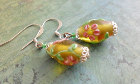 LAMPWORK,BEADED,EARRINGS,/,Pink,Flowers,and,Green,Vine,Yellow,Glass,Earrings,Floral,Art,glass,Gift,for,Her,Boxed,Jewelry,Bjeweled_Vintage,One_Of_A_Kind,Hand_Made,Mothers_Day,Lampwork,Nickel_Free,Lampwork_Earrings,Lampwork_Glass,Lampwork_Beads,Floral_Earrings,Yellow_Earrings,Pretty_Earrings