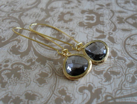 CHARCOAL,GREY,Glass,Drop,EARRINGS,/,Faceted,Gold,Framed,Dangle,Bridesmaid,Earrings,Bridal,Simple,Gift,boxed,Weddings,Jewelry,Wedding,Nickel_Free,Faceted_Glass,Framed_Glass,Bridesmaid_Jewelry,Charcoal,Bridesmaid_Earrings,Grey_Glass_Earrings,Drop_Earrings,Gift_Boxed