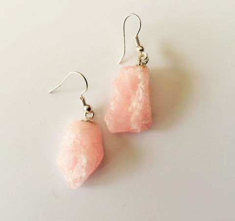 Rose,Quartz,Earrings,/,Raw,Nugget,Stone,Jewelry,/Pink,Gift,Boxed,gift_for_her,gemstone_earrings,semi_precious,made_in_Canada,stone_earrings,rose_quartz_earrings,raw_rose_quartz,pink_quartz,raw_stone_earrings,pink_quartz_earrings,uncut_stone_earrings,quartz_drop_earrings,raw_pink_quartz
