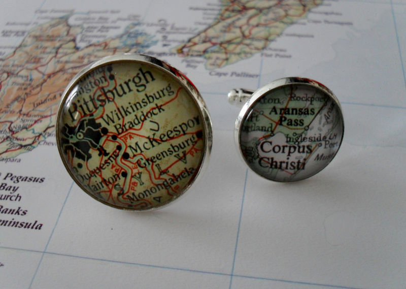 Map Cufflinks / Groomsmen Gift / 8 sets / Made to Order / 2 Sizes / Custom Map Cuff Links / Mix and match / Gift boxed / Wedding cufflinks - product image