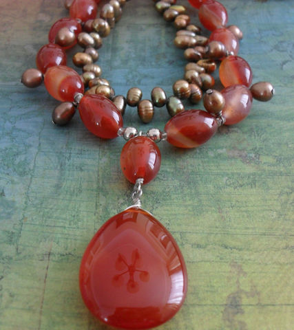 Red,AGATE,&,Bronze,Freshwater,PEARL,Beaded,NECKLACE,//,Intricate,Semi,Precious,Unique,Jewelry,Necklace,Canadian,Bjeweled_Vintage,Designer,One_Of_A_Kind,Hand_Made,Freshwater_Pearl,Pendant,Red_Agate,Carnelian,Filigree_Clasp,Semi_Precious_Stone,Unique_Gift