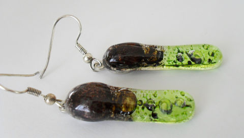 Chocolate,Brown,&,Lime,Green,FUSED,GLASS,EARRINGS,/,Rectangular,Bubble,Glass,Unique,Gift,for,Her,Art,Earrings,Boxed,Jewelry,One_Of_A_Kind,Hand_Made,Mothers_Day,Charming,Nickel_Free,Gifts_For_Her,Fused_Glass,Bubbles,Modern,Lime_Green,Chocolate_Brown,Unique_Gift